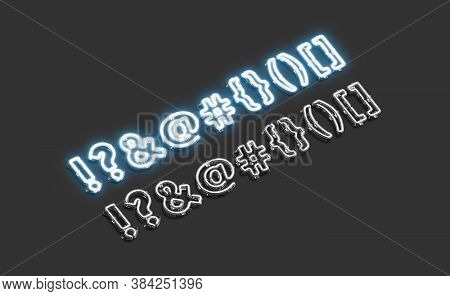 Decorative Mark Neon Symbol Mockup Darkness, 3d Rendering. Luminous Exclamation Point, Question, Amp