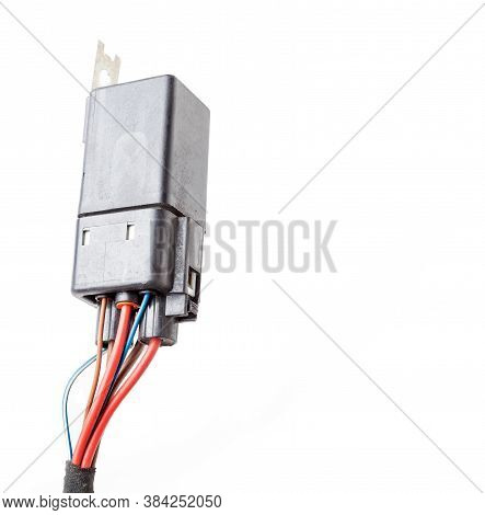Auto Electronic Collection On White Background. Car Electromagnetic Relay Switch Auto Electronic Col