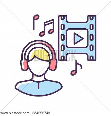 Music Supervisor Rgb Color Icon. Producer For Audio Making. Listen To Song In Headset. Composer For