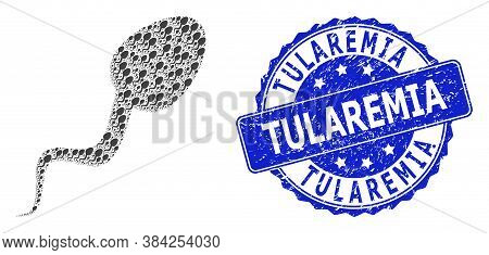 Tularemia Dirty Round Seal Imitation And Vector Recursive Mosaic Sperm Cell. Blue Stamp Seal Has Tul