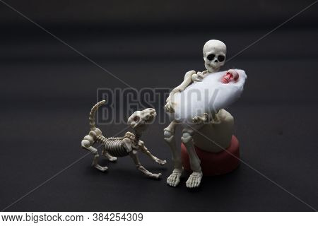 Skeleton Mother With Her Children And A Skeleton Dog, Happy Moment For Baby Born.