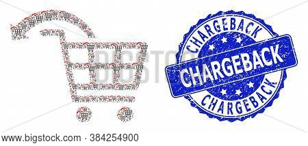 Chargeback Grunge Round Stamp Seal And Vector Recursive Collage Undo Shopping Order. Blue Stamp Seal