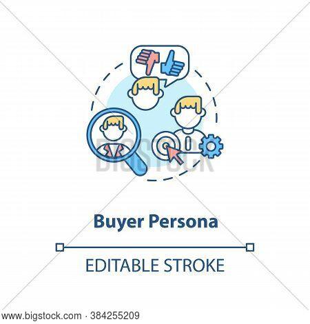 Buyer Persona Concept Icon. Target Customer Idea Thin Line Illustration. Market Segmentation. Social