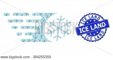 Ice Land Grunge Round Stamp And Vector Recursive Collage Fast Freezing. Blue Stamp Seal Has Ice Land