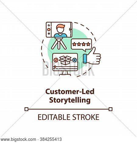 Customer-led Storytelling Concept Icon. Social Media Posts Creating. Video Blog. Brand Storytelling