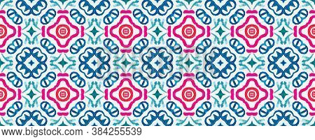 Mosaic Texture Tiles. Bright Aquarelle. Bright Tiles Frame. Mosaic Tile Flower. Bright Ethnic Fabric