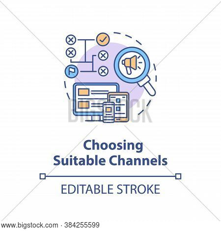 Choosing Suitable Channels Concept Icon. Marketing Message Delivery Idea Thin Line Illustration. Cro