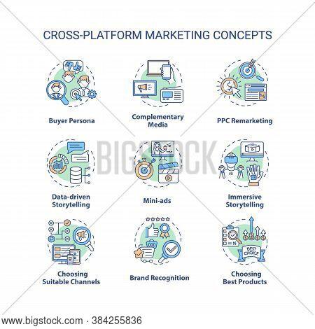 Cross-platform Marketing Concept Icons Set. Brand Building. Advertising Idea Thin Line Rgb Color Ill