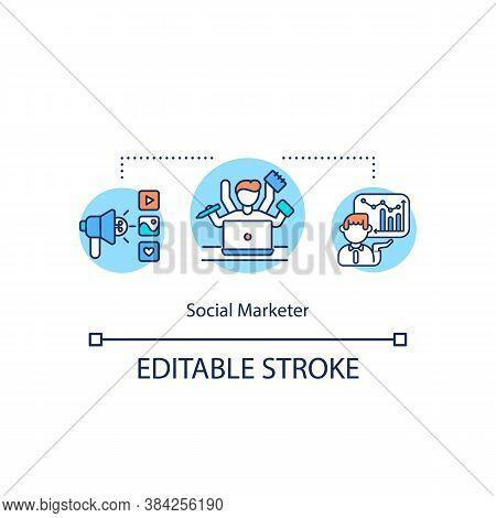 Social Marketer Concept Icon. Social Media Marketing Strategy Idea Thin Line Illustration. Human Mul