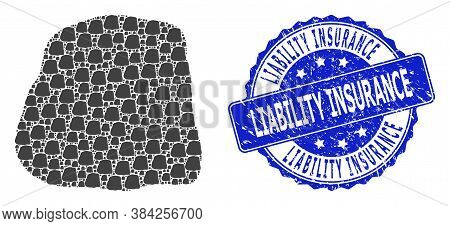 Liability Insurance Textured Round Stamp And Vector Fractal Mosaic Stone. Blue Stamp Seal Includes L