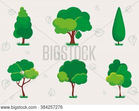 Set Of Different Plants And Trees Illustration. Oak, Aspen, Alder, Poplar, Chestnut. Vector Green Na