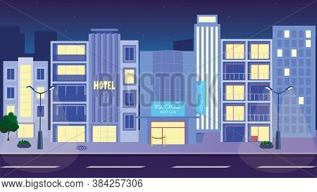 Night City Life Concept. Town Street. Urban Landscape Banner With Buildings, Trees, Shop, Stores, Sk