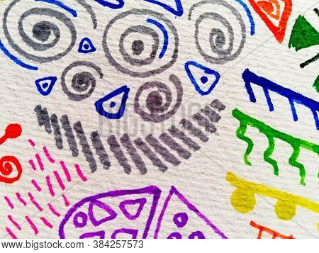 African Background Abstract. Multicolored Navajo Prints. White African Texture. Truck Art Prints. Br