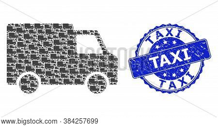 Taxi Textured Round Stamp And Vector Recursive Collage Van Car. Blue Stamp Contains Taxi Text Inside