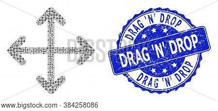 Drag N Drop Unclean Round Stamp Seal And Vector Recursion Collage Expand Arrows. Blue Seal Includes
