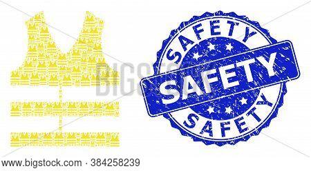 Safety Textured Round Seal Print And Vector Recursive Composition Safety Vest. Blue Seal Has Safety