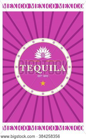 Pink Mexican Tequila Label, Agave Pure Liquor