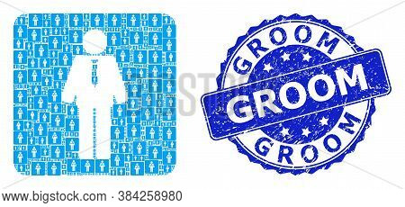Groom Dirty Round Stamp Seal And Vector Recursive Mosaic Groom. Blue Stamp Seal Contains Groom Capti