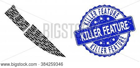 Killer Feature Dirty Round Stamp And Vector Recursive Collage Knife. Blue Stamp Includes Killer Feat