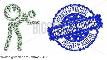Producer Of Marijuana Textured Round Stamp Seal And Vector Fractal Mosaic Cannabis Courier. Blue Sta