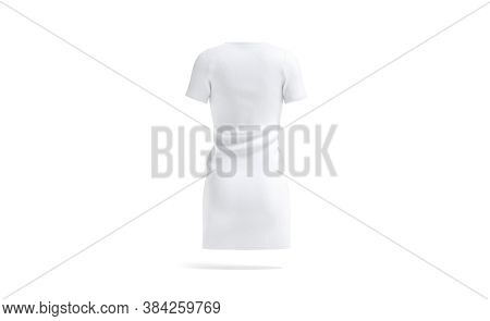 Blank White Cloth Dress Mock Up, Back View, 3d Rendering. Empty Fabric Long T-shirt Or Sport Gown Mo