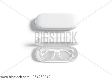 Blank White Opened And Closed Case With Glasses Mockup, Isolated, 3d Rendering. Empty Leather Holder