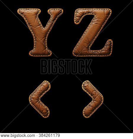 Set of leather letters Y, Z and symbol left, right angle bracket uppercase. 3D render font with skin texture isolated on black background. 3d rendering