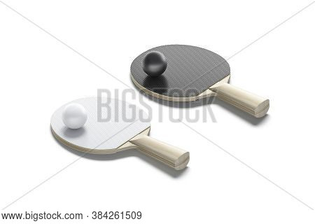 Blank Black And White Table Tennis Racket With Ball Mockup, 3d Rendering. Empty Sport Racquet With B