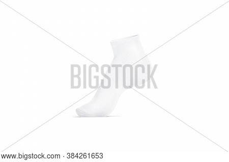 Blank White Ancle Socks On Tiptoe Mockup, Side View, 3d Rendering. Empty Wool Or Cotton Footwear Moc