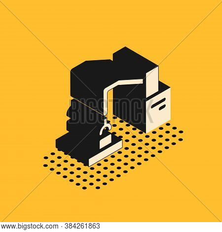 Isometric Industrial Machine Robotic Robot Arm Hand Factory Icon Isolated On Yellow Background. Indu