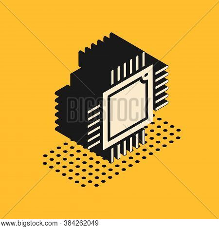 Isometric Computer Processor With Microcircuits Cpu Icon Isolated On Yellow Background. Chip Or Cpu