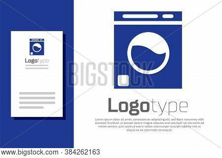 Blue Washer Icon Isolated On White Background. Washing Machine Icon. Clothes Washer - Laundry Machin