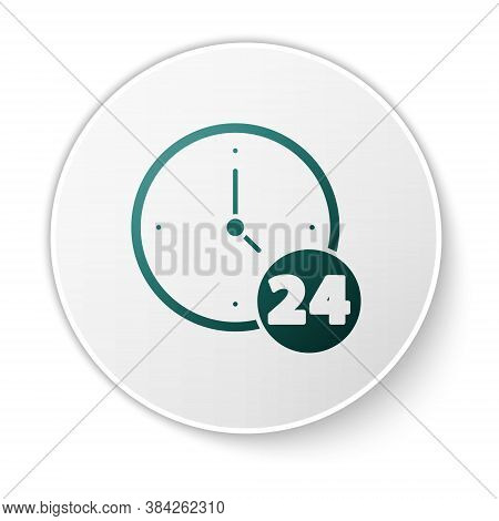 Green Clock 24 Hours Icon Isolated On White Background. All Day Cyclic Icon. 24 Hours Service Symbol