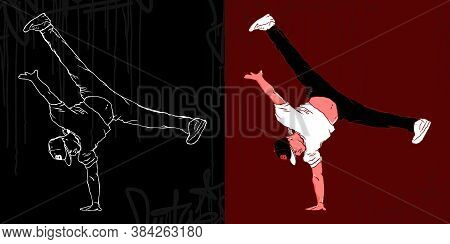 Bboys Abstract Silhouettes Vector Illustration Hiphop Graffiti Style
