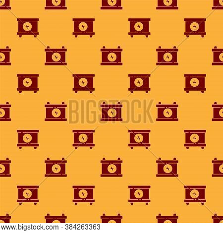 Red Car Battery Icon Isolated Seamless Pattern On Brown Background. Accumulator Battery Energy Power