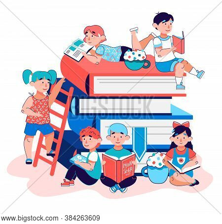 Children Education Poster - Cartoon Kindergarten Kids Reading Together By Giant Stack Of Books Isola