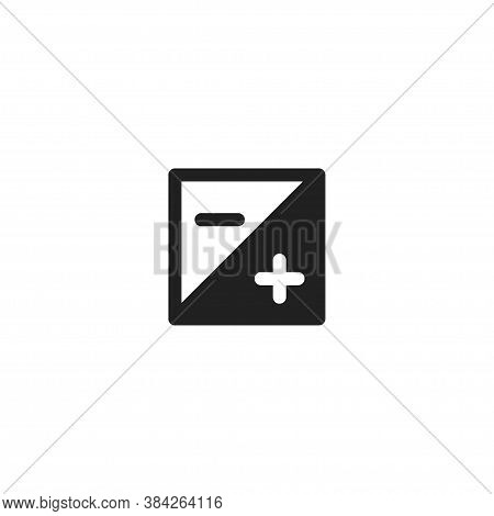 Minus And Plus, Simple Icon Logo. Add Sign Isilated Concept In Vector Flat