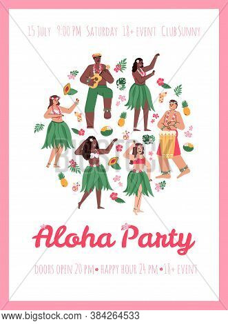Invitation Poster Or Placard For Aloha Party With Hawaiian Hula Dancers, Cartoon Vector Illustration