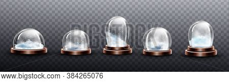 Realistic Glass Domes With Snow, Christmas Globe Souvenirs, Isolated Crystal Semisphere Containers O