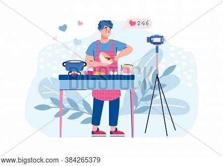 Vlogger Filming Cooking Recipe On Camera For His Channel. Man Making Cooking Blog And Getting Likes,