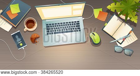 Workplace Top View, Office Desk, Work Space With Coffee Cup, Crumbled Cookie, Potted Plant, Mobile P
