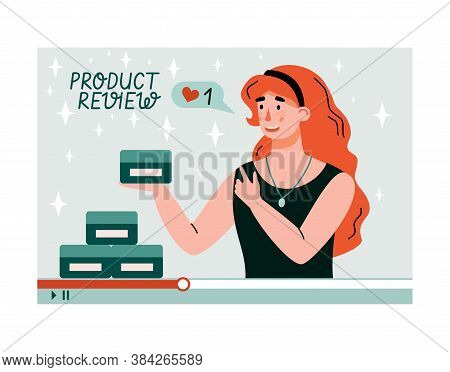 Woman Reviewing And Unboxing Product On Video. Girl Using Internet For Making Tutorial And Unpackagi