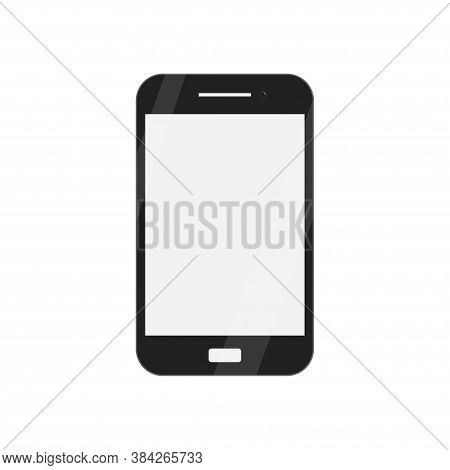 Flat Mockup With Black Smartphone. Cellphone Display Front View Mock Up. Telephone Vector Icon.