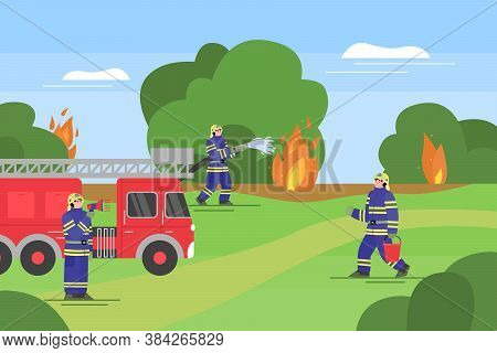 Rescue Operation Of Fire Department In Forest, Flat Cartoon Vector Illustration. Extinguishing Of Wi