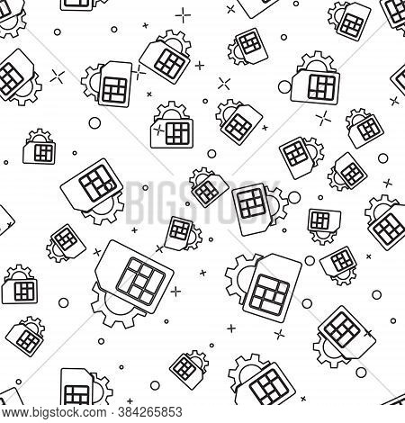 Black Line Sim Card Setting Icon Isolated Seamless Pattern On White Background. Mobile Cellular Phon