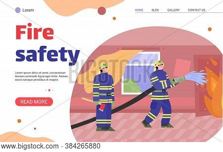 Fire Safety Website Banner. Cartoon Firefighter People In Burning Apartment Emergency Extinguishing