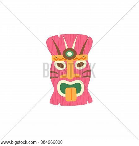 Hawaiian Tiki God Carved Polynesian Wooden Mask, Flat Vector Illustration Isolated On White Backgrou