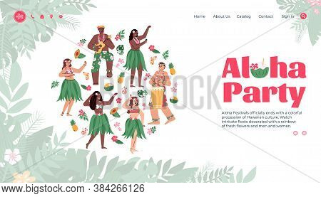 Aloha Party Hawaiian Festival Landing Page For Website. Group Of Hawaiian Girls And Boys Dancing In