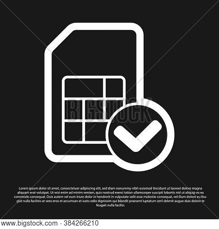 Black Sim Card Icon Isolated On Black Background. Mobile Cellular Phone Sim Card Chip. Mobile Teleco