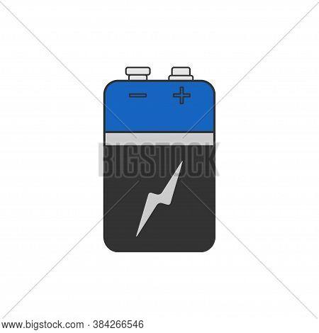 Alkaline Battery In Cartoon Flat. Vector Illustration For Any Design.